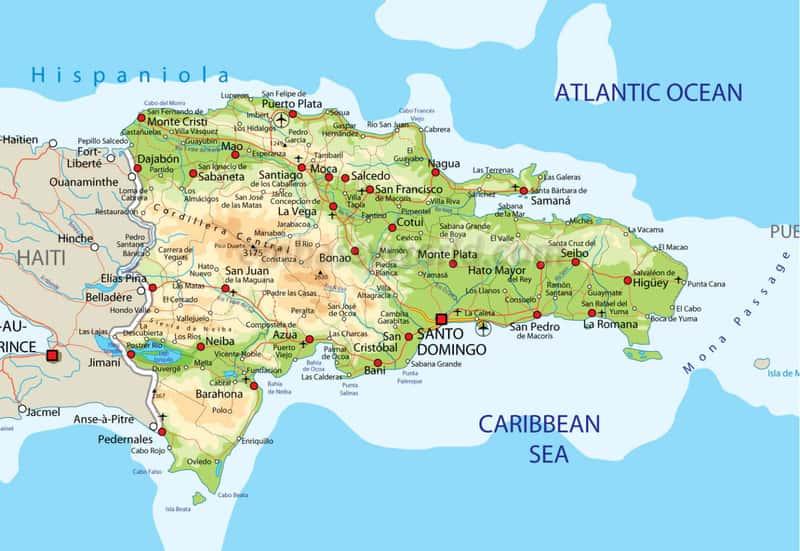 Карта Доминиканы с её городами и омывающими морями