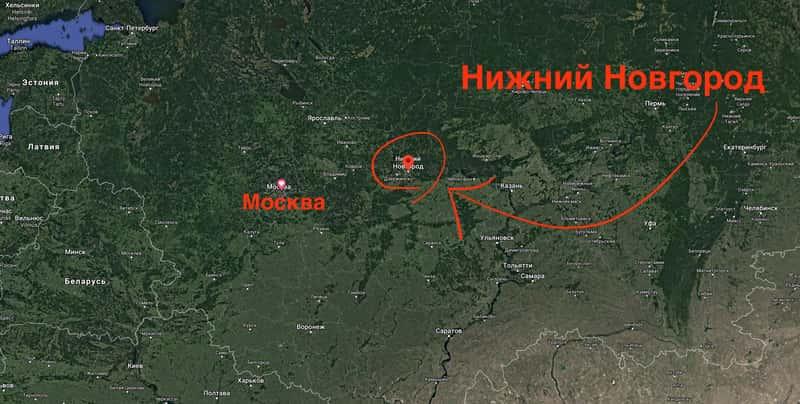 Где находится Нижний Новгород на карте