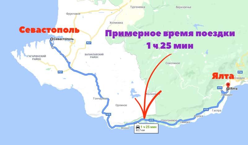 Маршрут Севастополь — Ялта
